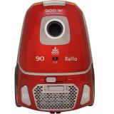 Aspirator cu sac Albatros Bella 90 Eco, 900 W, Sac textil 3 L, 31.9kWh/an, Filtru HEPA, Tub metalic telescopic, Rosu/Gri