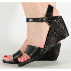 Sandale negre platforma piele naturala (cod SS06)