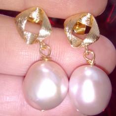 Cercei de lux cu perle naturale baroque placati cu aur de 18 k
