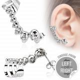 Piercing fals pentru ureche, din oţel, cranii, zirconiu mic - Formă piercing: Stânga