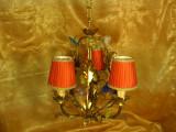 Lustra alama dore Art Nouveau, sticla Murano, foita aur, vintage