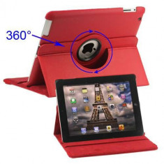 Husa Flip Cu Stand iPad 2 3 4 Rotire 360 De Grade Rosie
