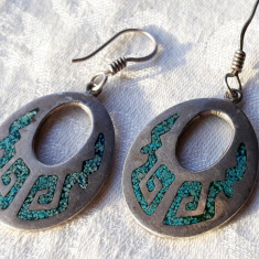 CERCEI argint AZTECI MEXIC superbi VECHI cu micromozaic TURCOAZE de efect RARI