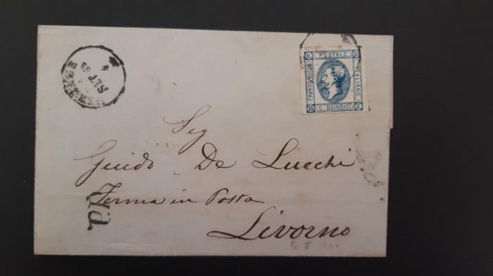 Italia - Cover 1863 (Regele Victor Emmanuel II) - stampila 1863, set.