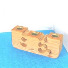 Sfesnic modular 3 focuri, lemn de pin, 2002, handmade - semnat Gunnar Kanevad