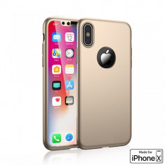 Husa Apple iPhone X, FullBody Elegance Luxury Auriu, acoperire completa 360..., MyStyle