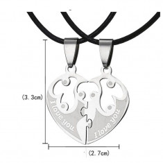 Set Pandantiv / Colier / Lantisor / Medalion - Inima Din 2 Bucati