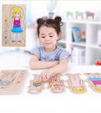Cumpara ieftin Puzzle lemn multistrat partile corpului uman - fetita.