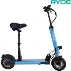 Trotineta electrica pliabila RYDE 400, Viteza maxima 35 Km/h, Autonomie 20 - 25 Km/h, Motor 400 W + Scaun pliabil (Albastru)