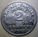 7.828 FRANTA WWII VICHY 2 FRANCS FRANCI 1944 C, Europa, Aluminiu