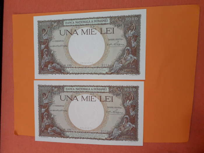 Bancnote romanesti 1000lei 1939 unc serii consecutive
