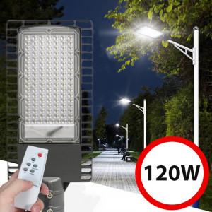 Lampa Solara Iluminat Stradal 120 Led Uri 120w Panou Solar 40w Control Telecomanda 30000mah Timer 9500lm Ip65 Okazii Ro
