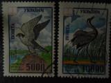 Serie timbre pasari animale fauna Ucraina stampilate