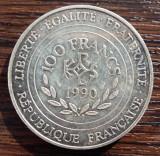 (A179) MONEDA DIN ARGINT FRANTA - 100 FRANCS FRANCI 1990, CHARLE MAGNE 742-814