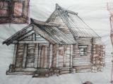 Desen scenografie de teatru - mobila, Scene gen, Acuarela, Realism