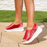 Sandale cu talpa ortopedica dama Piele rosii Jonisia