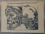 Tentativa de identificare// xilogravura, semnata Nitescu, Peisaje, Ulei, Realism