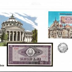 FDC și bancnotă- UNC: -ROMANIA-1987-10 LEI