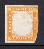 Italy Sardinia 1855 King Viktor Emanuel II 80c brown orange MH AM.451, Nestampilat