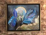 Tablou abstract pictat si placat cu foita de aur, tablou original rasarit soare, Ulei