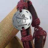 Bratara Piele Unisex Retro Design - Marime Reglabila - Zodia Sagetator