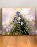 Tablou cu peisaj abstract de primavara, Tablou cu flori mov de camp