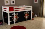 Pat etajat din lemn de pin, cu spatiu de joaca pentru copii Pino Pirates Alb, 200 x 90 cm