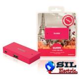 Hub USB 4 porturi Paris roz Sweex
