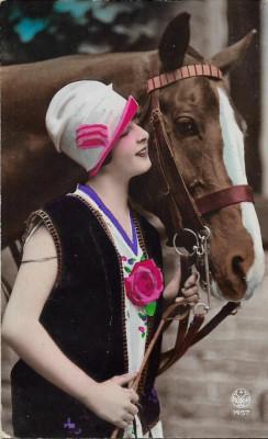 Carte postala cu cal interbelica Basarabia foto
