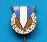 Insigna veche anii 1970 Fotbal Club Sportiv Olimpia Bucuresti