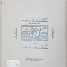 ' UNT REGINA MARIA ' PASTEURIZAT , 200 GR. , HARTIE DE AMBALAJ , IMPRIMATA CU DESEN DE CULOARE ALBASTRA PE HARTIE CERATA , PERIOADA INTERBELICA