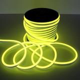 Furtun luminos Neon flexibil galben, profil 1.8x2.5 cm, IP66