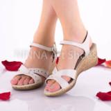Sandale dama, crem, din piele naturala - NA302CREM