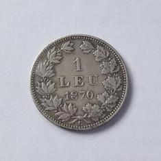 ROMANIA - 1 Leu 1870  C . Argint . Moneda rara in aceasta stare !  Superba !