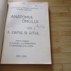 D. V. RANGA--ANATOMIA OMULUI - VOL. 1 /3. CAPUL SI GATUL -1979-1980