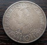 (A621) MONEDA DIN ARGINT GERMANIA - 10 MARK 1989, LIT. G, 40 ANI INFINTAREA RFG, Europa