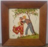 Scena romantica// ulei pe placa de ceramica, Peisaje, Acuarela, Altul