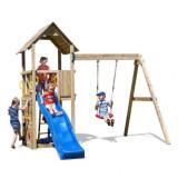 Spatiu de joaca din lemn pentru copii Fungoo Carol 2 cu leagan si zid de catarat