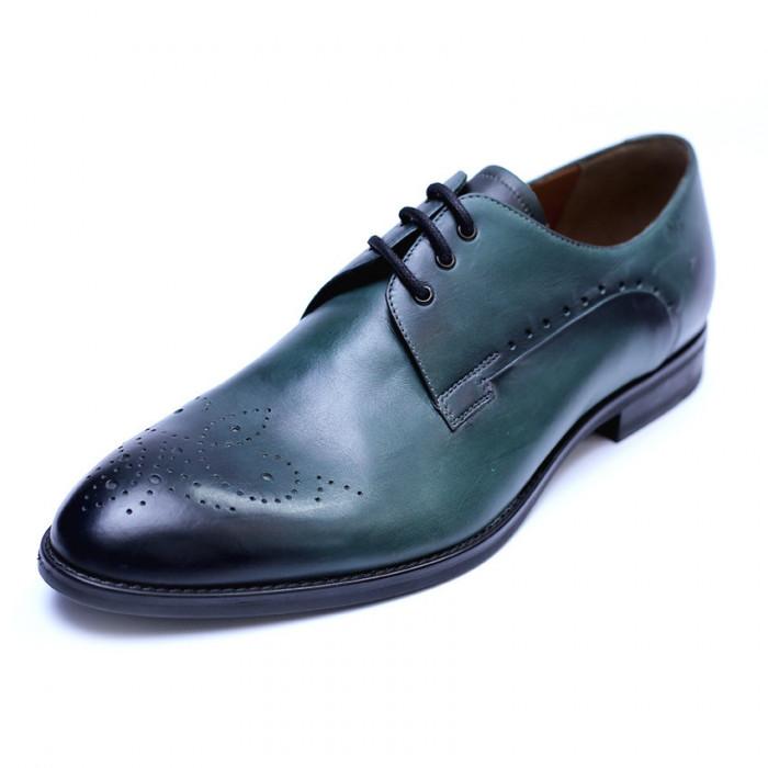 Pantofi eleganti pentru barbati din piele naturala, Soni, ANNA CORI, Verde, 39 EU