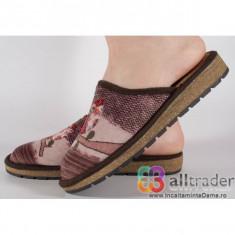 Papuci de casa maro din plus cu talpa cu memorie dama/dame/femei (cod 191023)