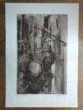 MARCEL CHIRNOAGA, gravura- Fantanile uitate //Exemplar de autor, Abstract, Cerneala