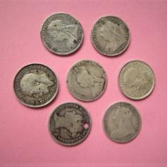 Lot 3 pence Anglia, argint 1875 - 1919! okazie, 7 bucati