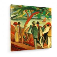 Tablou pe panza (canvas) - August Macke - People Strolling along the Lake