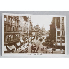 PRAGA , NA PRIKOPE , STRADA DIN CENTRUL ORASULUI , CARTE POSTALA ILUSTRATA , MONOCROMA, NECIRCULATA , DATATA 1924