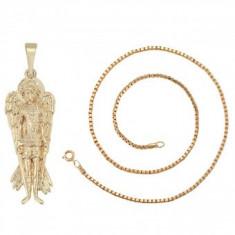 Lantisor pandantiv Sf Mihail,dublu placat Aur 18k,lungime 45cm