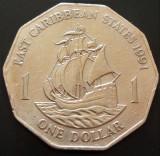 Moneda 1 DOLLAR - CARAIBE de EST, anul 1991 *cod 4158, America Centrala si de Sud