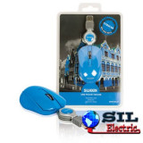 Mouse optic mini Curacao pe USB cu cablu retractabil albastru, Sweex, Optica
