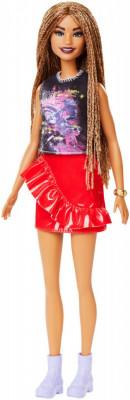 Papusa Barbie Fashionista Cu Fustita Rosie Cu Volane foto