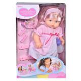 Papusa interactiva Baby Doll cu bentita si rochie roz, 3 ani+