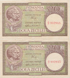 ROMANIA 2 X 20 LEI ND (1947,1948,1950) CONSECUTIVE VF+ LUCA, RUBICEC RPR 37 VERT